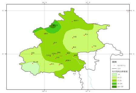 北京地区年平均风功率密度色斑图(w/m2)