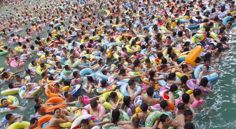 各地高温游泳成最佳避暑运动,泳池人满为患。(来源:网易体育)