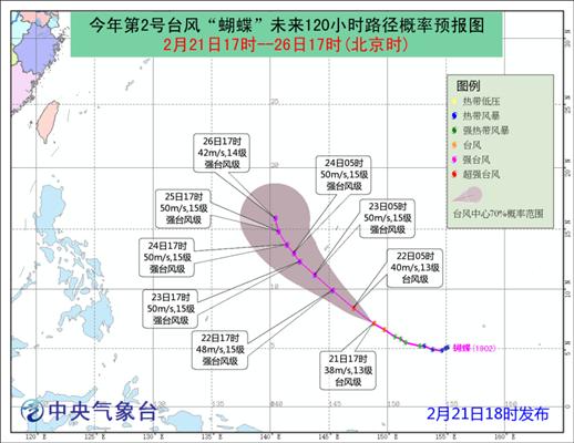 """台风""""蝴蝶""""加强为台风级 未来对我国无影响"""