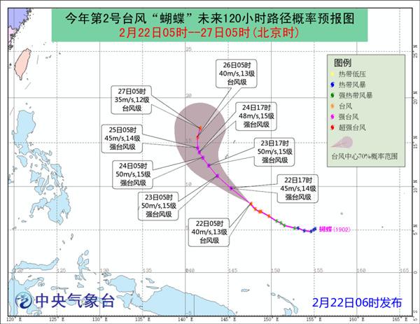 """台风""""蝴蝶""""强度逐渐加强 最强或达超强台风级"""
