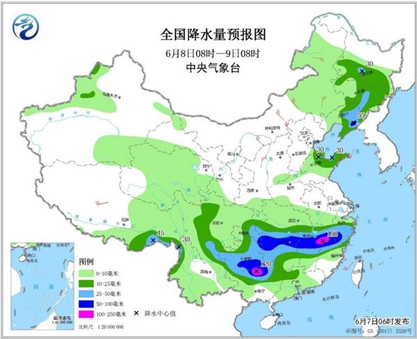 今日雨水狂浇江南中北部 华北东北多雷雨