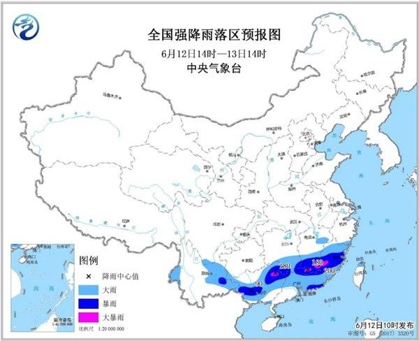 暴雨黄色预警:广西江西福建局地有大暴雨