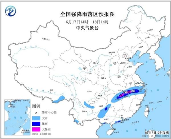 暴雨蓝色预警 湖北安徽湖南江西等局地有大暴雨