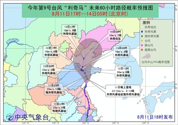 """台风黄色预警:今晚""""利奇马""""将在山东青岛沿海再次登陆"""