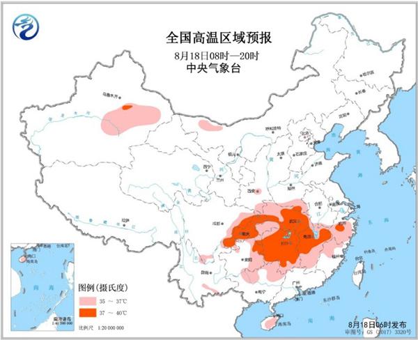 高温黄色预警 江西湖南湖北重庆等地部分地区可达37-39℃