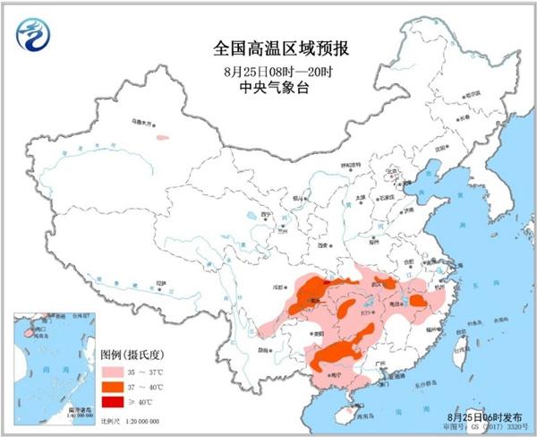 重庆广西湖北等6省市区可达37-39℃局地40℃