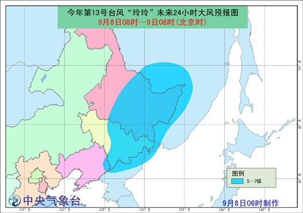 """台风蓝色预警:""""玲玲""""进入东北 黑龙江仍有中到大雨"""