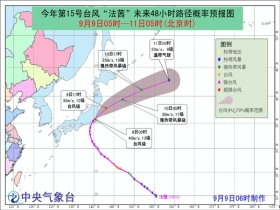 """台风""""法茜""""登陆日本千叶市沿海 强度逐渐减弱"""