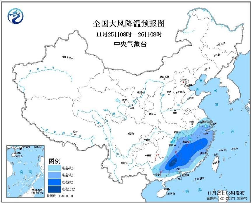 江南等地降温10℃以上 南方7省会开启入冬进程