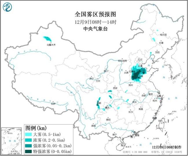 大雾黄色预警生效中 冀豫鲁川局地今天有特强浓雾