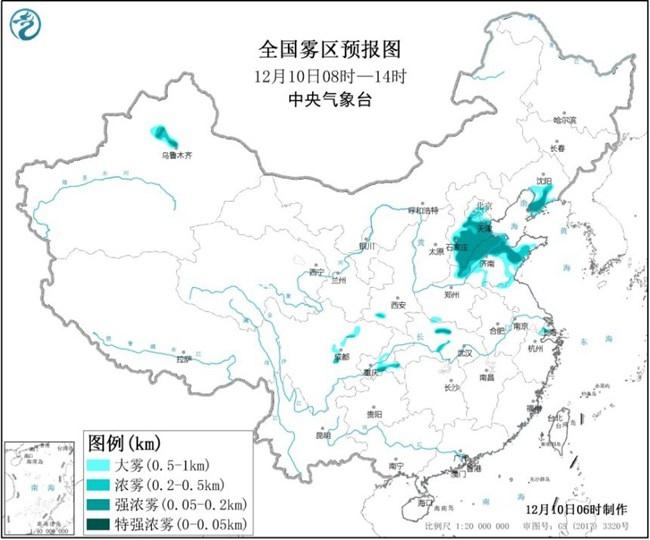 大雾黄色预警:冀豫鲁川新局地能见度不足50米