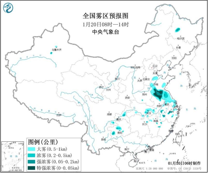 大雾黄色预警 山东江苏等部分地区能见度不足200米