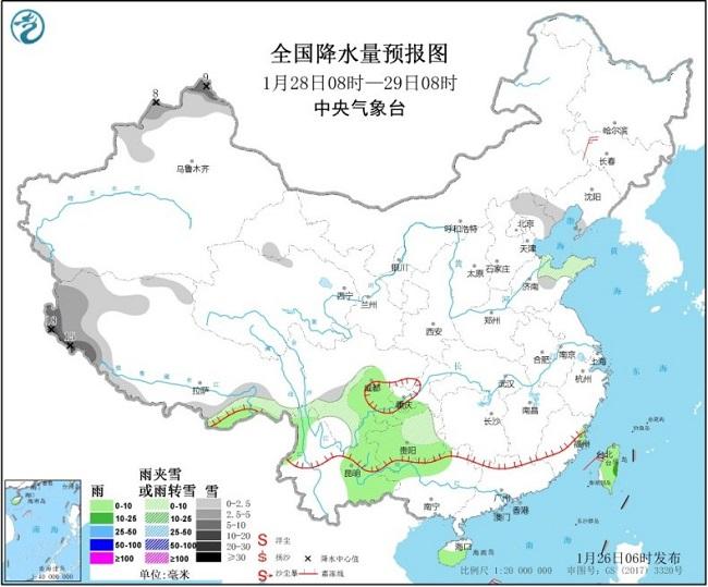 江南华南雨势减弱  安徽局地或遭强降雪