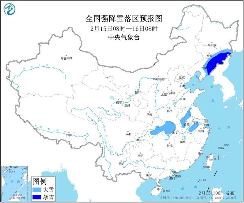 暴雪蓝色预警 辽宁吉林等地部分地区有暴雪