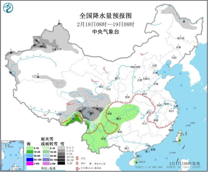 中东部雨雪稀少气温升 西南雨雪再度发展