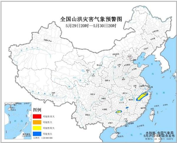 山洪灾害气象预警:浙江安徽江西湖南广西等地可能发生山洪