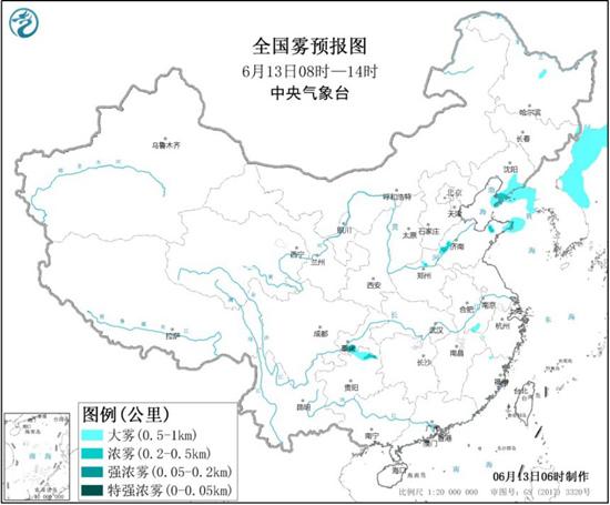 大雾黄色预警 辽宁重庆贵州等地部分地区有大雾