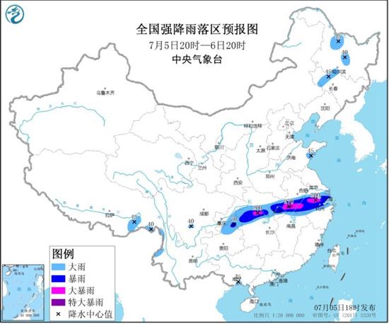 暴雨黄色预警 安徽湖北湖南浙江等地部分地区有大暴雨