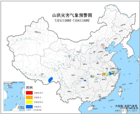 山洪灾害气象预警 浙江安徽湖北湖南局地山洪灾害可能性大