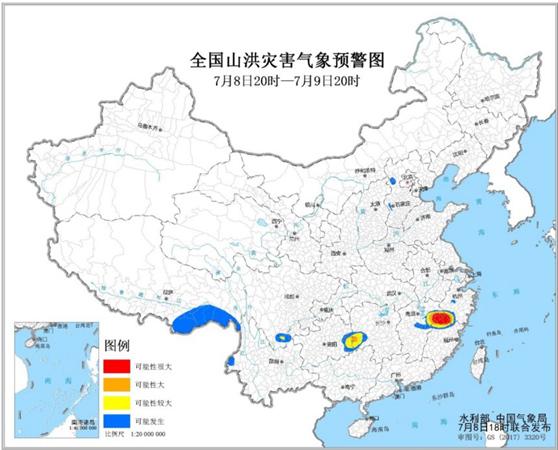 山洪灾害预警:浙江福建等局地发生山洪可能性很大