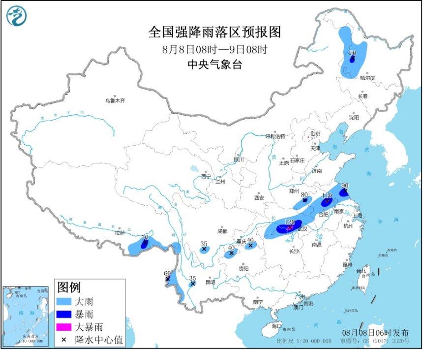 暴雨预警!湖北湖南安徽等11省区部分地区有大到暴雨