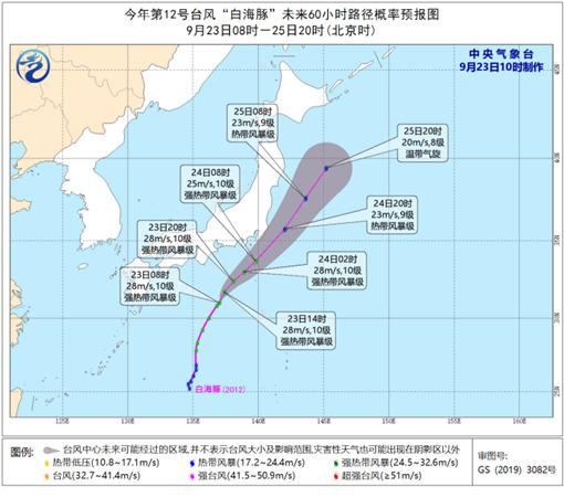 """臺風""""白海豚""""強度維持或緩慢減弱 未來對我國無影響"""