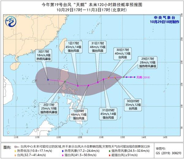 """台风""""天鹅""""将趋向菲律宾吕宋岛以东洋面"""
