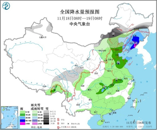 中东部大范围雨雪来袭降温迅猛 东北黄淮局地降水量或破纪录