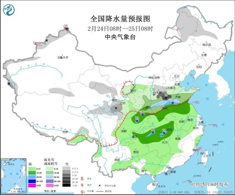 中東部雨雪登場 西北黃淮成降溫中心