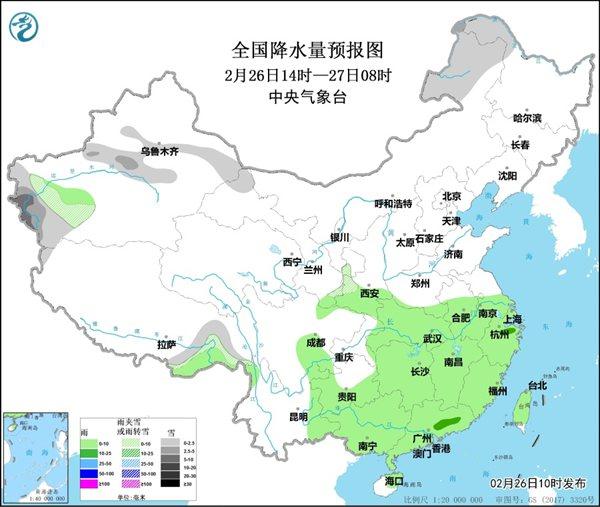 2月27日起中东部将迎大范围雨雪天气