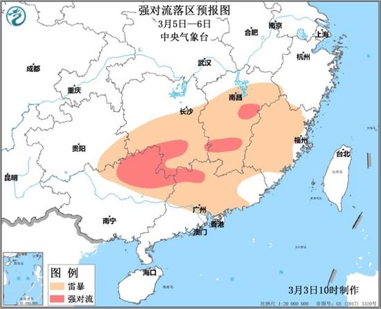 南方明夜起进入降水核心时段 江南华南将迎今年首场强对流天气
