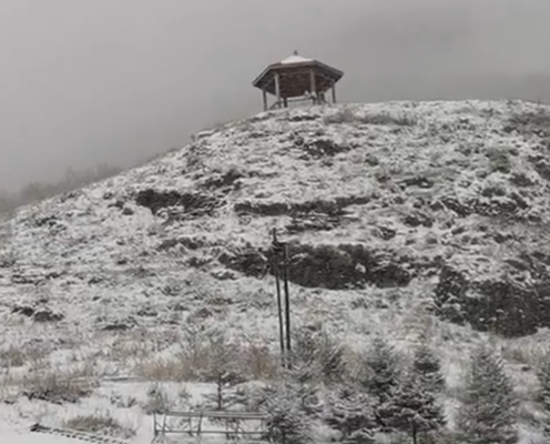 实拍!北京多地4月飞雪 西部北部高海拔山区雪花纷扬