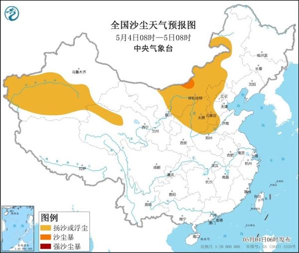 沙尘暴蓝色预警 新疆陕西山西河北等5省区部分地区有扬沙或浮尘