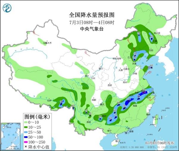 强降雨盘踞江淮一带 南北高温夹击需防暑