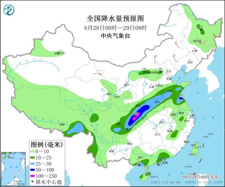 四川盆地至黃淮連遭降雨 江南華南高溫發展