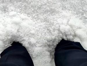 内蒙古辉腾锡勒遭冰雹袭击 最厚处没过脚