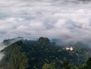 重慶南川:雨后云海翻騰 層層山巒時隱時現