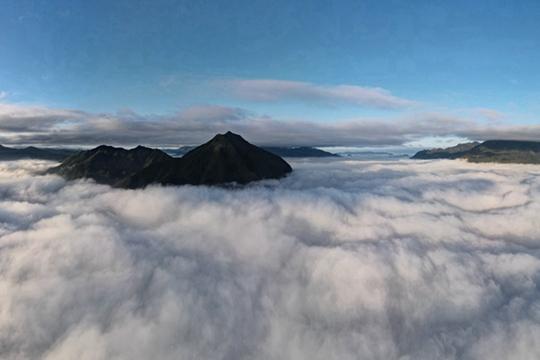 航拍浙江庆元云海景观 云雾飘渺如临仙境
