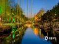 济南护城河两岸的春色在灯光的映衬下美如画卷。(图/李峰 文/王连珍)