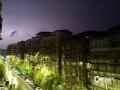 图为疾风骤雨中的凌晨街景。