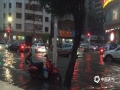 图为6月11日晚,罗定市城区五里桥十字路口处水淹街道,车辆排队缓慢通过。(图/陈颖锋)
