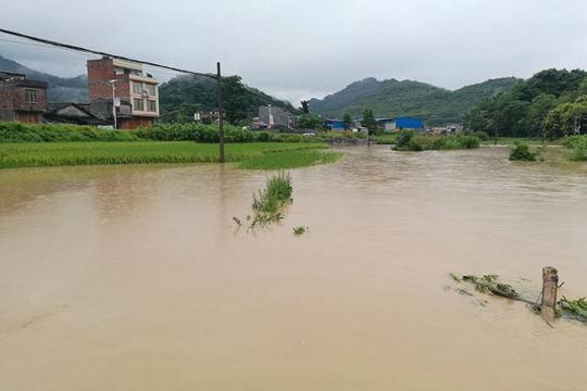 廣西忻城部分鄉鎮突降大暴雨 積水浸泡農田加油站