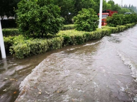 湖北襄阳一夜大雨过后 城区多地积水