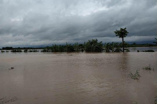 """受台风?#25300;?#24085;""""影响 广西宁明洪水冲毁路面"""