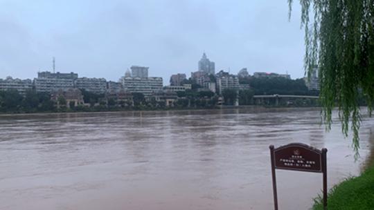 四川遭遇强降雨 沱江东渡口水位达今年来最高