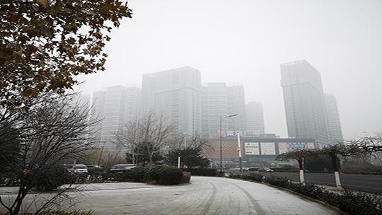 """天地一色 大雾""""染白""""河北廊坊燕郊城区"""