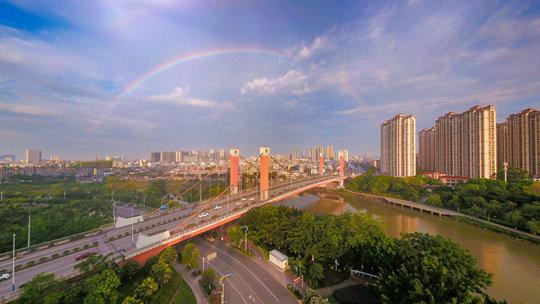 广西钦州:清晨彩虹高挂 点亮新的一天