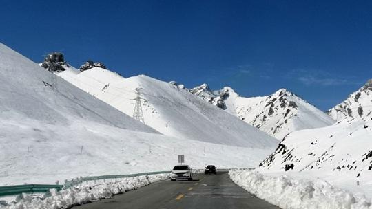 7月的新疆独库公路  皑皑雪景与嫩绿草原展现四季更迭