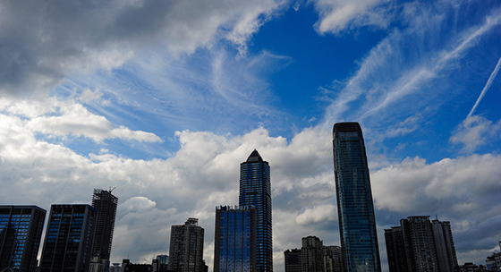 贵阳雨止转晴 蓝天如洗白云如絮