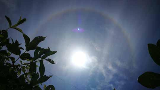 壮观!七彩祥云和日晕齐现甘肃卓尼天空